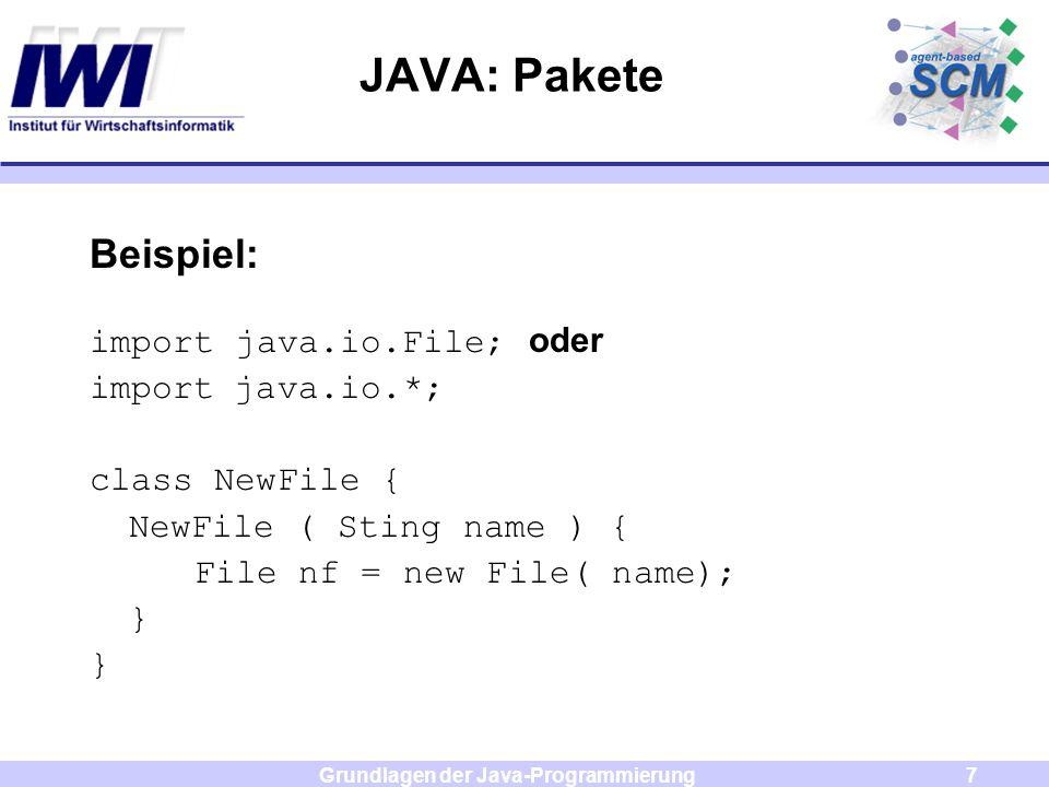 Grundlagen der Java-Programmierung8 Beispiel 6 java.io.File file = null; java.io.FileOutputStream stream = null; file = new java.io.File( . , test.txt ); try { stream = new java.io.FileOutputStream( file); } catch ( java.io.FileNotFoundException e) { System.out.println(e); }