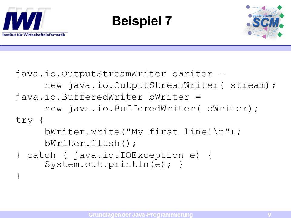 Grundlagen der Java-Programmierung10 Aufgabe Es soll aus einer Datei, welche auf der Webseite der Veranstaltung zur Verfügung gestellt wird, eine Adresse ausgelesen werden.