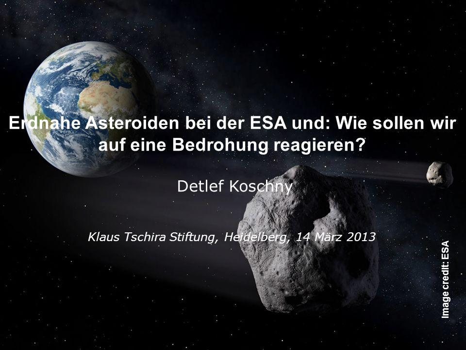 The SSA-NEO Segment, Feb 2013, D. Koschny - Page 4 Erdnahe Asteroiden bei der ESA und: Wie sollen wir auf eine Bedrohung reagieren? Detlef Koschny Kla