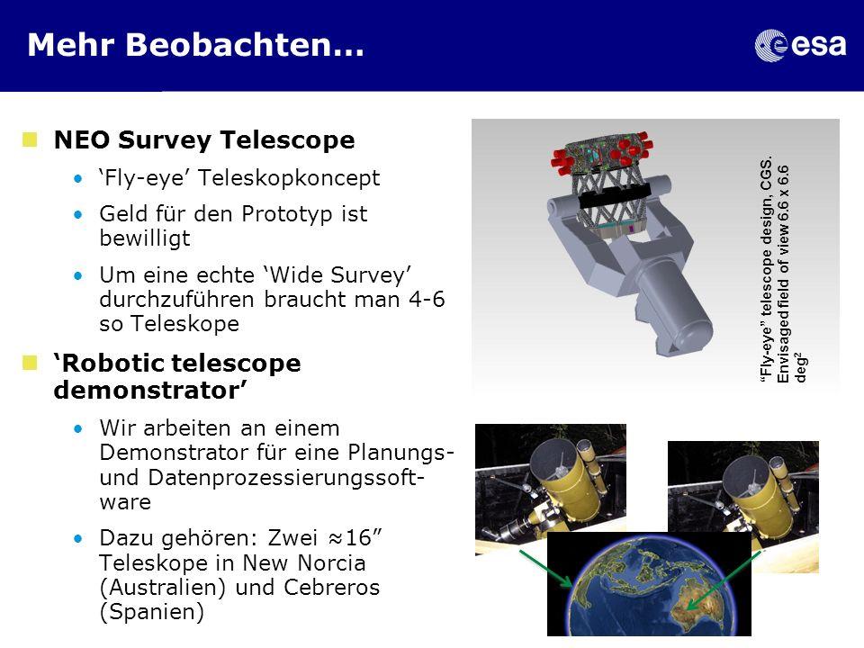 Mehr Beobachten… NEO Survey Telescope Fly-eye Teleskopkoncept Geld für den Prototyp ist bewilligt Um eine echte Wide Survey durchzuführen braucht man