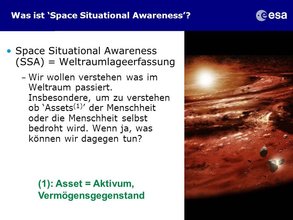 Was ist Space Situational Awareness? Space Situational Awareness (SSA) = Weltraumlageerfassung - Wir wollen verstehen was im Weltraum passiert. Insbes