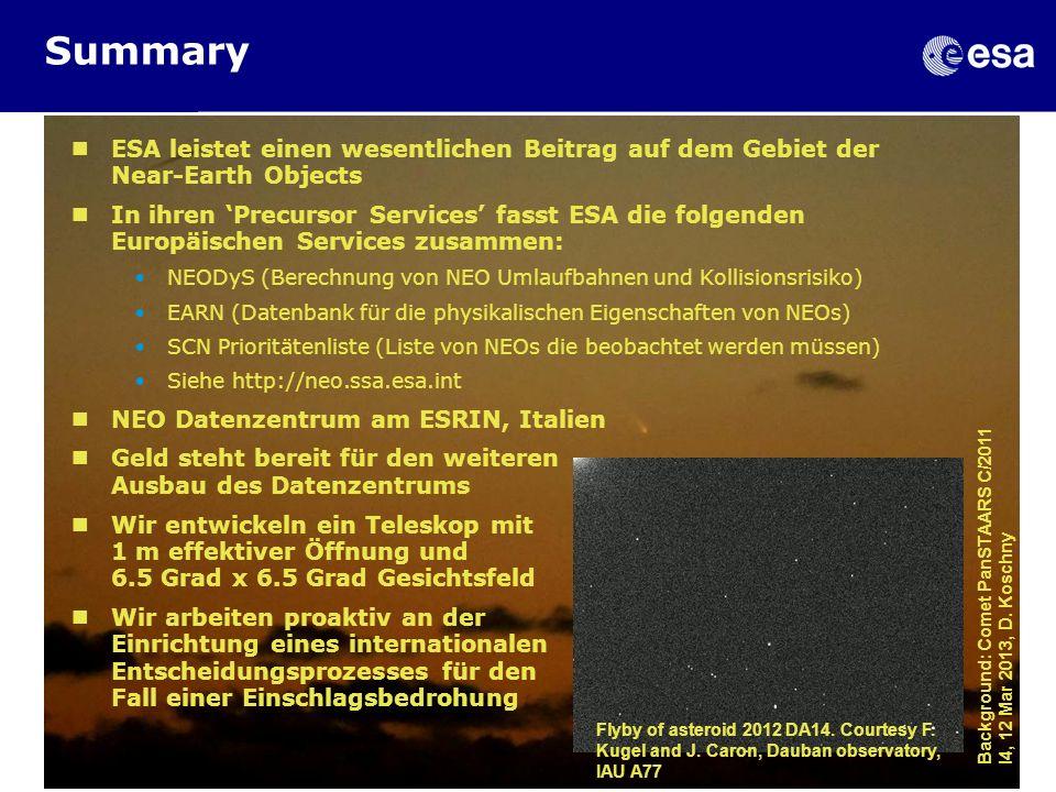 Summary ESA leistet einen wesentlichen Beitrag auf dem Gebiet der Near-Earth Objects In ihren Precursor Services fasst ESA die folgenden Europäischen