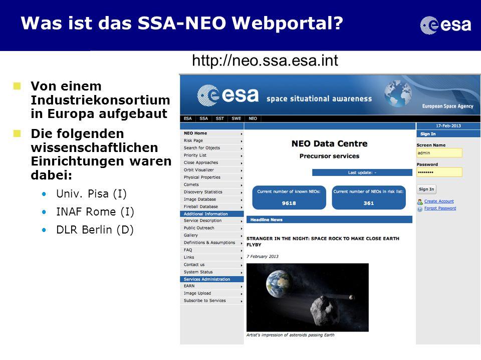 Was ist das SSA-NEO Webportal? Von einem Industriekonsortium in Europa aufgebaut Die folgenden wissenschaftlichen Einrichtungen waren dabei: Univ. Pis