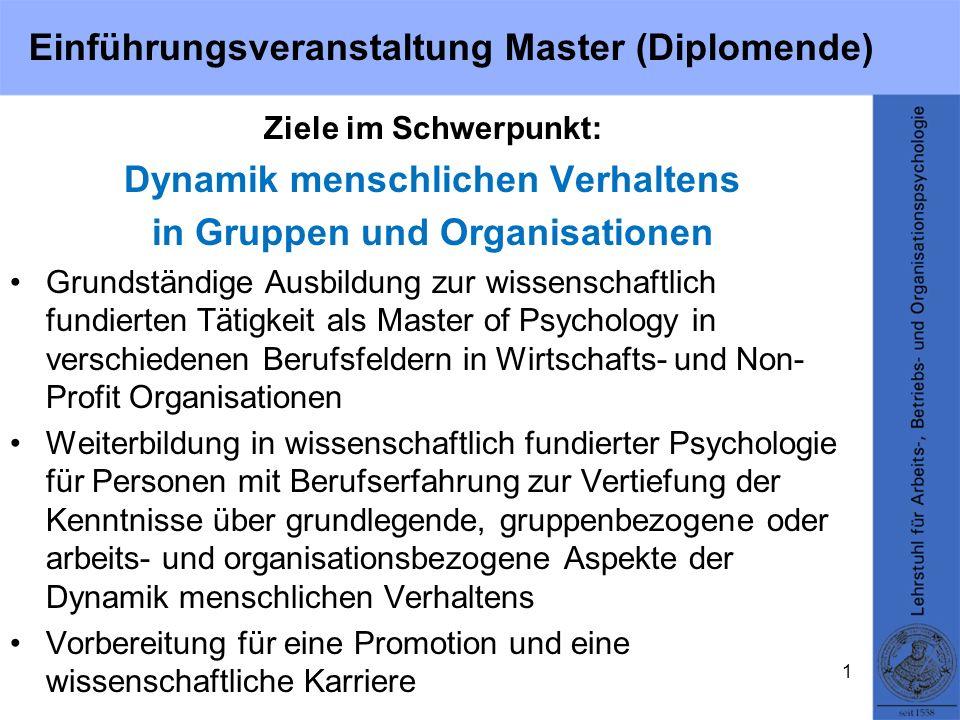 Einführungsveranstaltung Master (Diplomende) Ziele im Schwerpunkt: Dynamik menschlichen Verhaltens in Gruppen und Organisationen Grundständige Ausbild