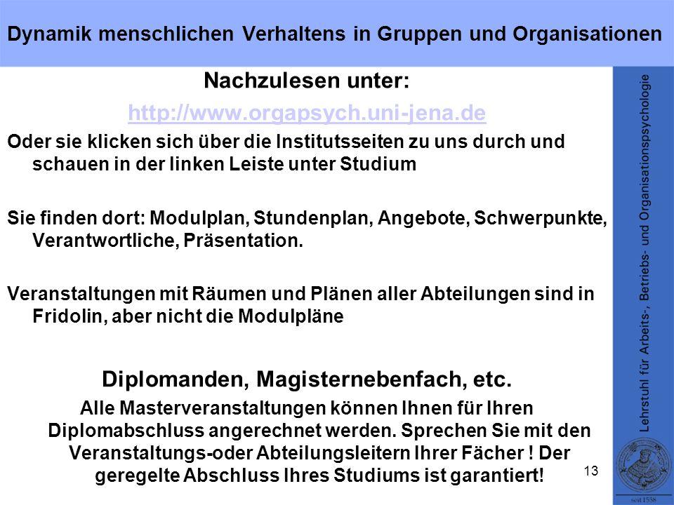 Dynamik menschlichen Verhaltens in Gruppen und Organisationen Nachzulesen unter: http://www.orgapsych.uni-jena.de Oder sie klicken sich über die Insti