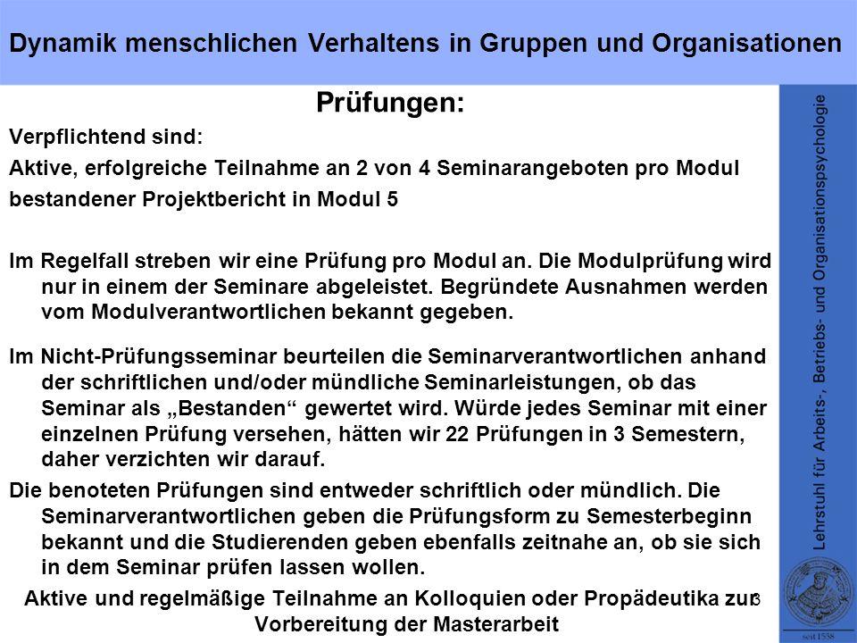 Beispiel-Studienplan für den Schwerpunktbereich Dynamik menschlichen Verhaltens in Gruppen und Organisationen Allgemeiner Teil 1.