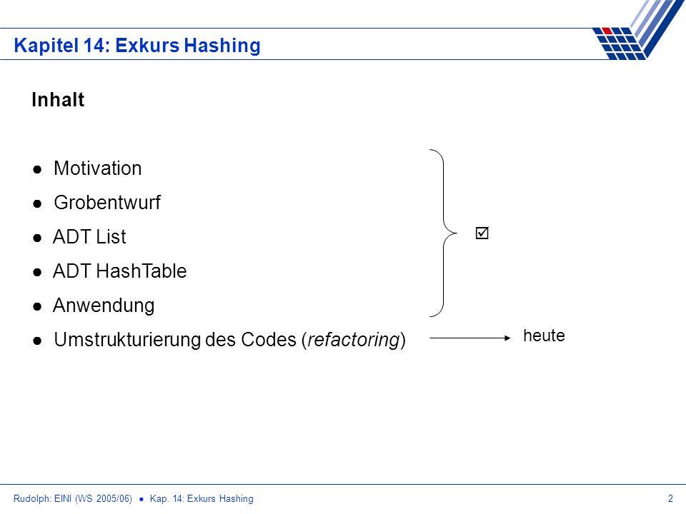 Rudolph: EINI (WS 2005/06) Kap. 14: Exkurs Hashing2 Kapitel 14: Exkurs Hashing Inhalt Motivation Grobentwurf ADT List ADT HashTable Anwendung Umstrukt