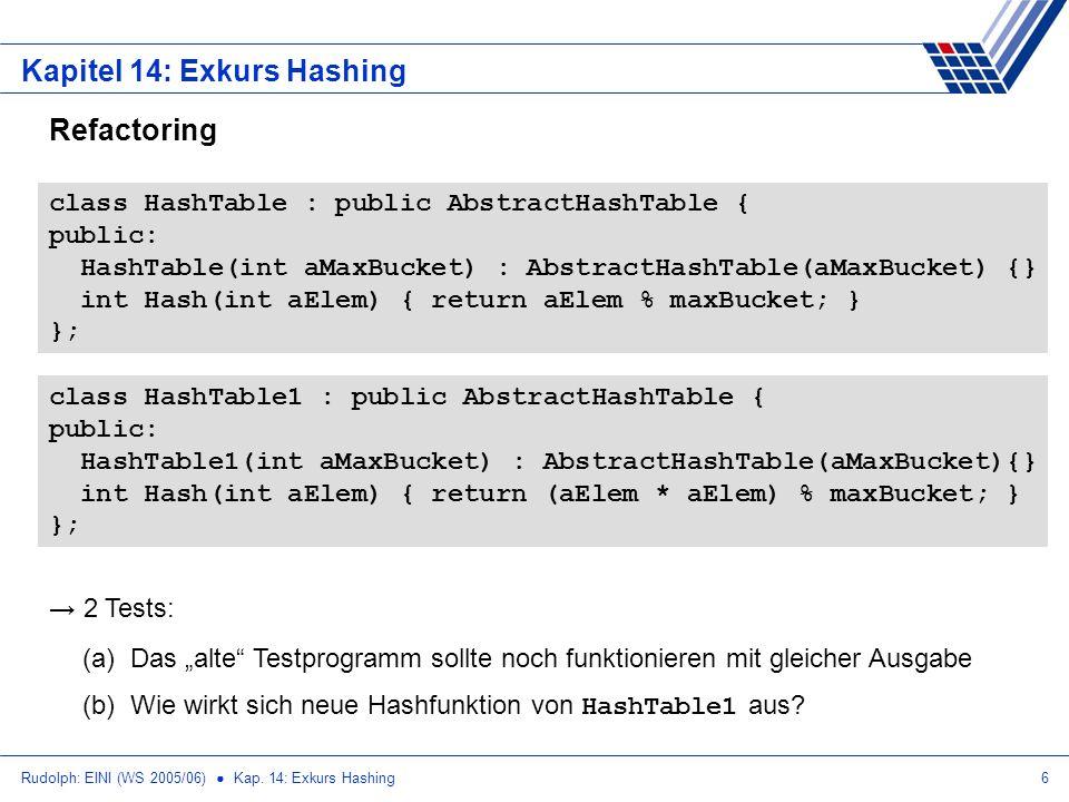 Rudolph: EINI (WS 2005/06) Kap. 14: Exkurs Hashing6 Kapitel 14: Exkurs Hashing Refactoring class HashTable : public AbstractHashTable { public: HashTa