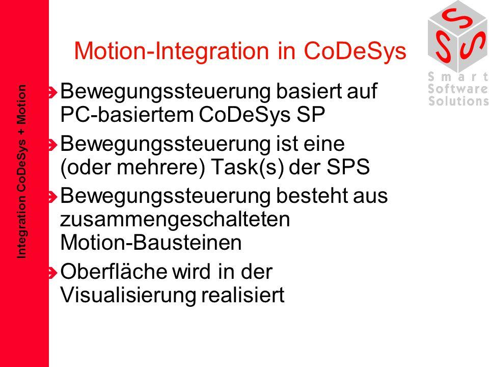 Integration CoDeSys + Motion Komponenten einer Bewegungssteuerung è Editor für Sollwertgenerierung –NC-Sprachen (DIN 66025) –Kurvenscheibeneditor è Bausteine zur Sollwertverarbeitung –Interpreter –Interpolator –Standardtransformationen –Zugriff auf Geomeriedatenablage è Achsinterface –CAN –Sercos –Profibus MC è Visualisierungselemente