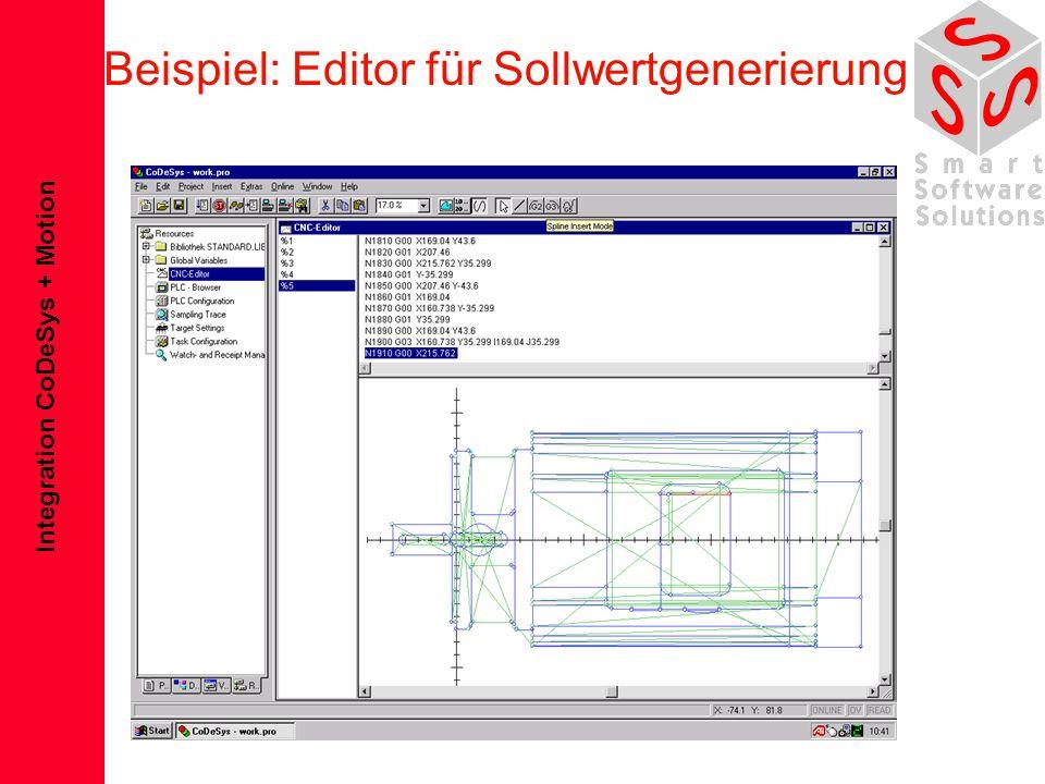 Integration CoDeSys + Motion Beispiel: Editor für Sollwertgenerierung