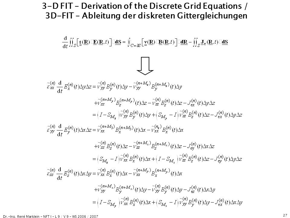 Dr.-Ing. René Marklein - NFT I - L 9 / V 9 - WS 2006 / 2007 27 3-D FIT – Derivation of the Discrete Grid Equations / 3D-FIT – Ableitung der diskreten