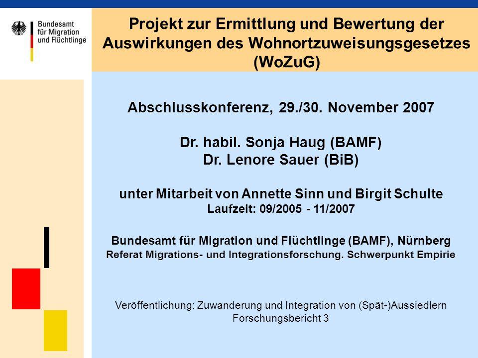 Ermittlung der Spätaussiedler in Melderegistern Stichprobenziehung Verfahren (Nürnberger Amt für Stadtforschung und Statistik): -Geburtsstaat -2.
