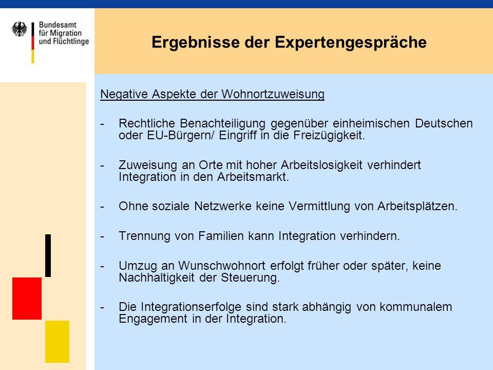 Ergebnisse der Expertengespräche Negative Aspekte der Wohnortzuweisung -Rechtliche Benachteiligung gegenüber einheimischen Deutschen oder EU-Bürgern/ Eingriff in die Freizügigkeit.