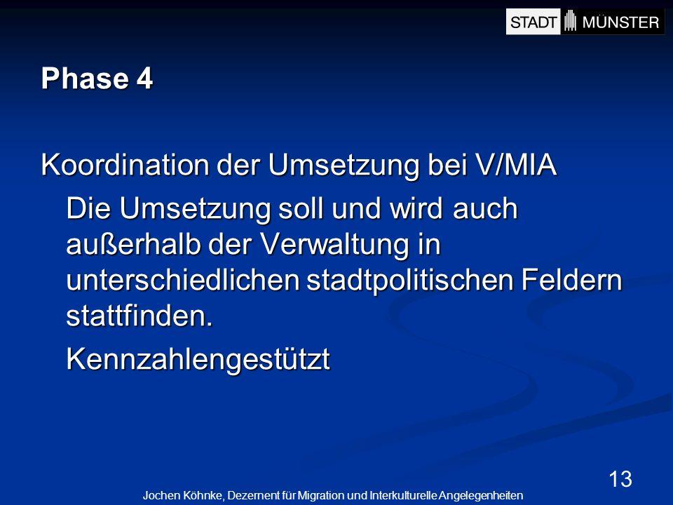 13 Phase 4 Koordination der Umsetzung bei V/MIA Die Umsetzung soll und wird auch außerhalb der Verwaltung in unterschiedlichen stadtpolitischen Felder