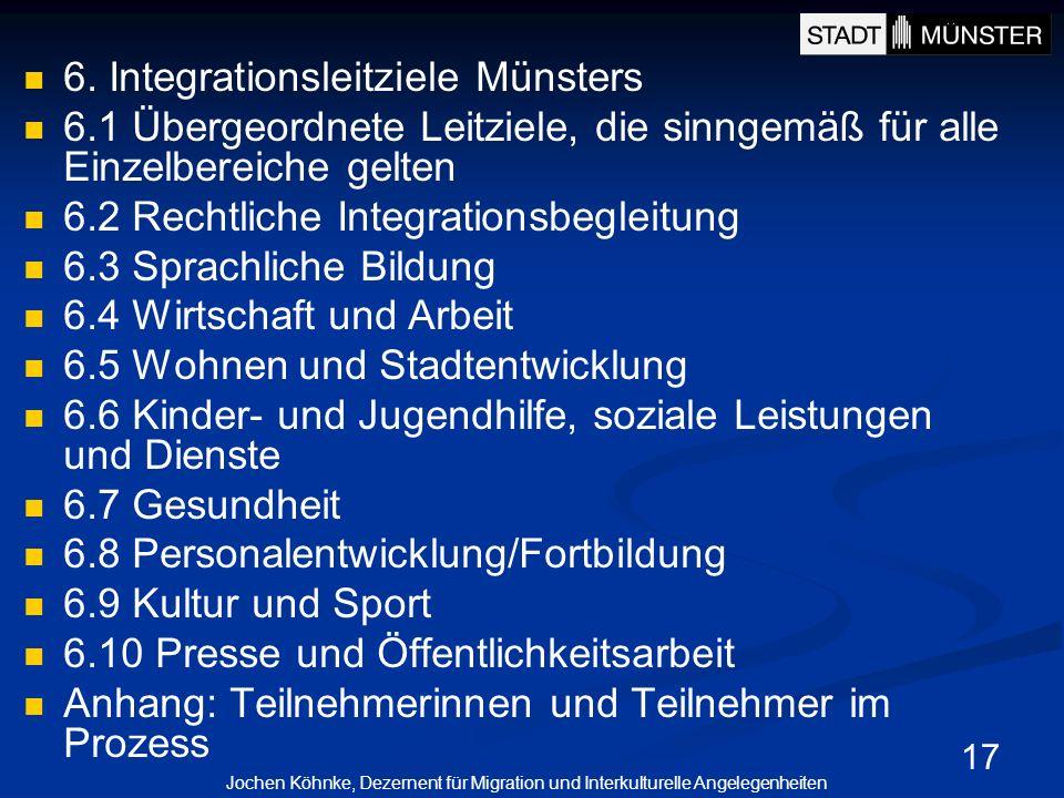 17 6. Integrationsleitziele Münsters 6.1 Übergeordnete Leitziele, die sinngemäß für alle Einzelbereiche gelten 6.2 Rechtliche Integrationsbegleitung 6