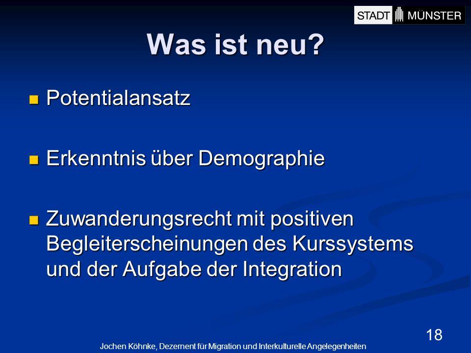 18 Was ist neu? Potentialansatz Potentialansatz Erkenntnis über Demographie Erkenntnis über Demographie Zuwanderungsrecht mit positiven Begleiterschei