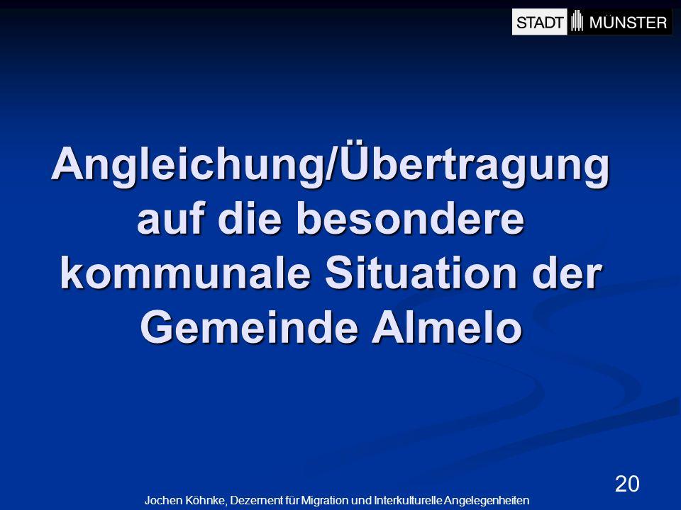 20 Angleichung/Übertragung auf die besondere kommunale Situation der Gemeinde Almelo Jochen Köhnke, Dezernent für Migration und Interkulturelle Angele