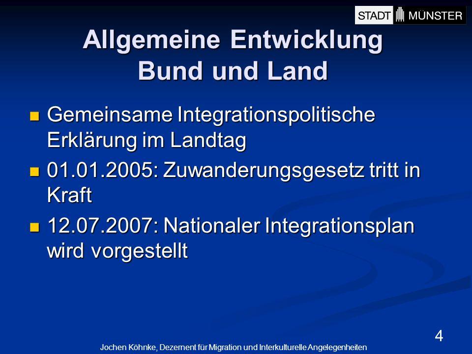 5 Migrationsleitbildentwicklung in Münster Integration ist Chefsache Integration ist Chefsache Das Migrationsleitbild ist Teil des integrierten Stadtentwicklungs- und Stadtmarketingkonzeptes (ISM) und des Agenda 21-Prozesses Das Migrationsleitbild ist Teil des integrierten Stadtentwicklungs- und Stadtmarketingkonzeptes (ISM) und des Agenda 21-Prozesses Integration/Migration ist Querschnittsaufgabe aller Politikbereiche wie auch der Stadtgesellschaft generell Integration/Migration ist Querschnittsaufgabe aller Politikbereiche wie auch der Stadtgesellschaft generell Das Migrationsleitbild entstand im Austausch mit dem Ausländerbeirat und muss regelmäßig fortgeschrieben werden.
