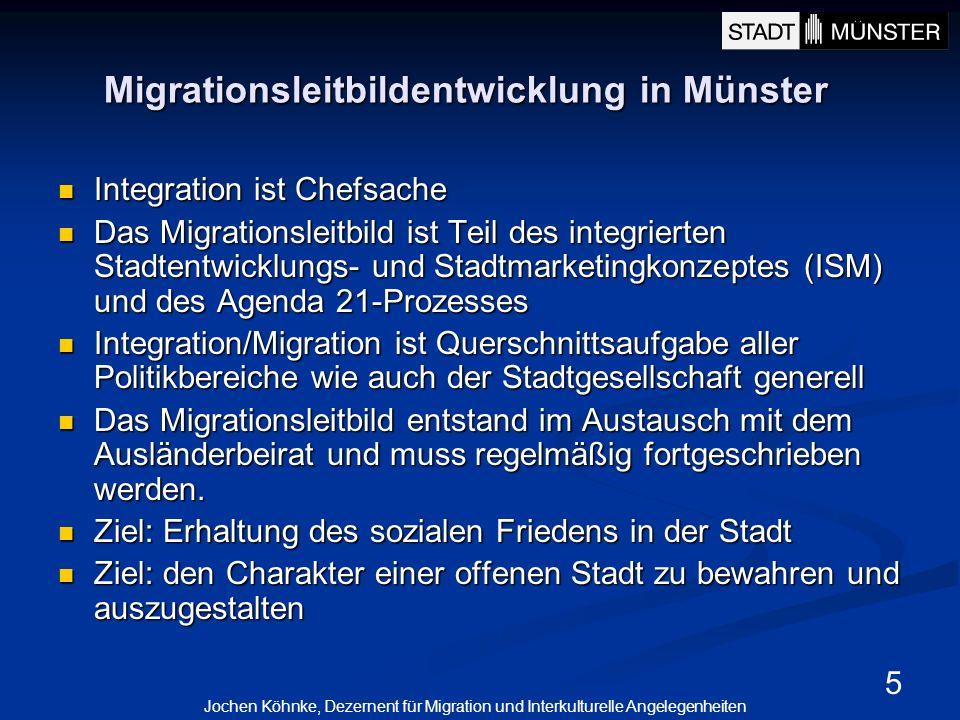 5 Migrationsleitbildentwicklung in Münster Integration ist Chefsache Integration ist Chefsache Das Migrationsleitbild ist Teil des integrierten Stadte