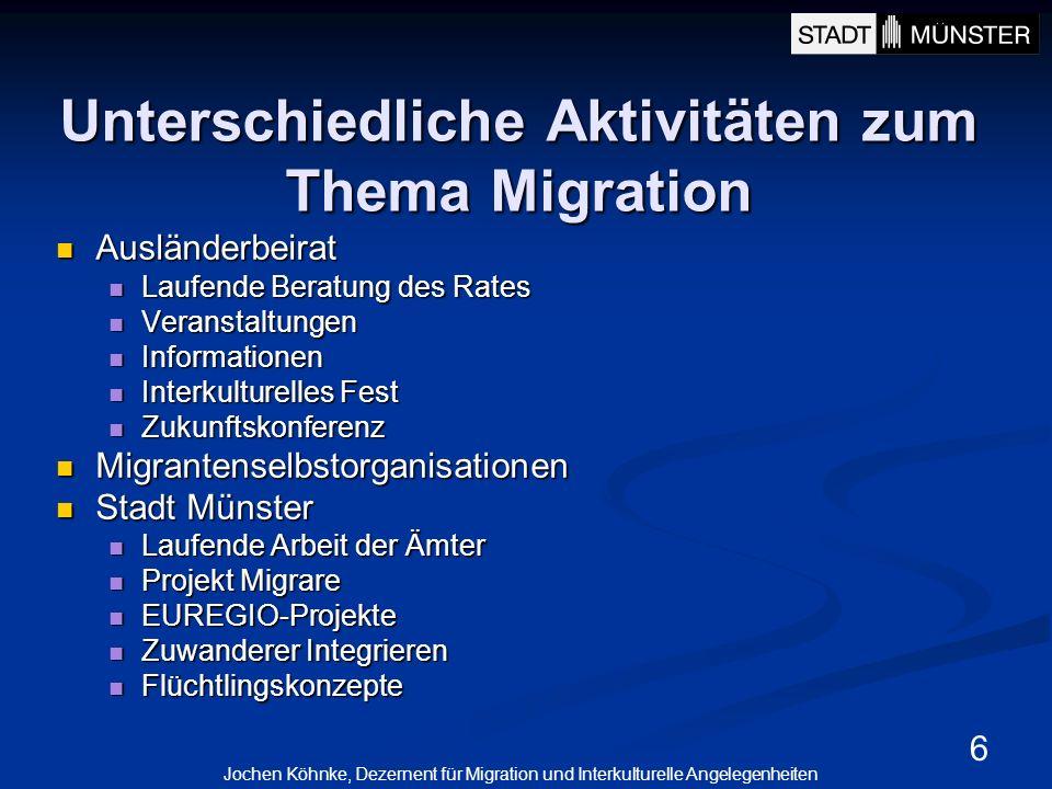 6 Unterschiedliche Aktivitäten zum Thema Migration Ausländerbeirat Ausländerbeirat Laufende Beratung des Rates Laufende Beratung des Rates Veranstaltu