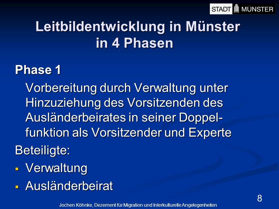 8 Leitbildentwicklung in Münster in 4 Phasen Phase 1 Vorbereitung durch Verwaltung unter Hinzuziehung des Vorsitzenden des Ausländerbeirates in seiner