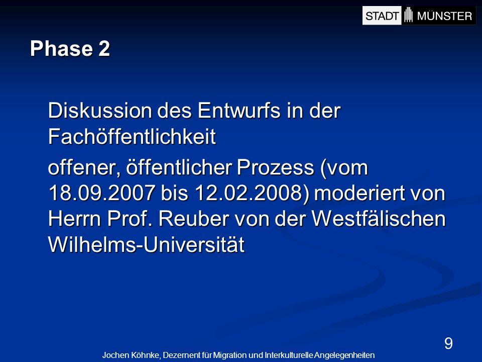 9 Phase 2 Diskussion des Entwurfs in der Fachöffentlichkeit offener, öffentlicher Prozess (vom 18.09.2007 bis 12.02.2008) moderiert von Herrn Prof. Re