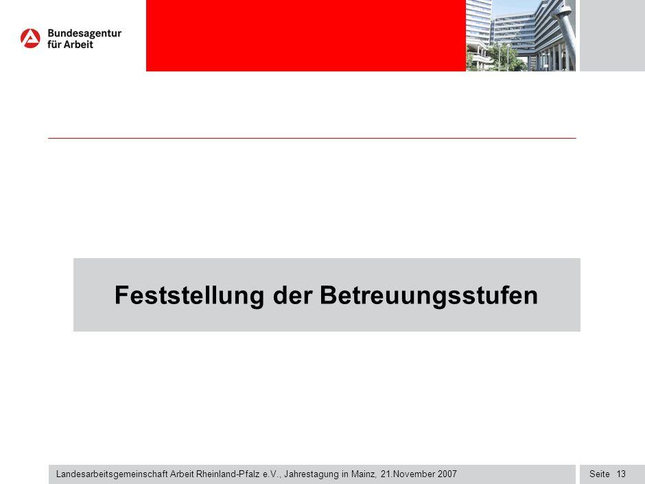 Seite13 Landesarbeitsgemeinschaft Arbeit Rheinland-Pfalz e.V., Jahrestagung in Mainz, 21.November 2007 Feststellung der Betreuungsstufen