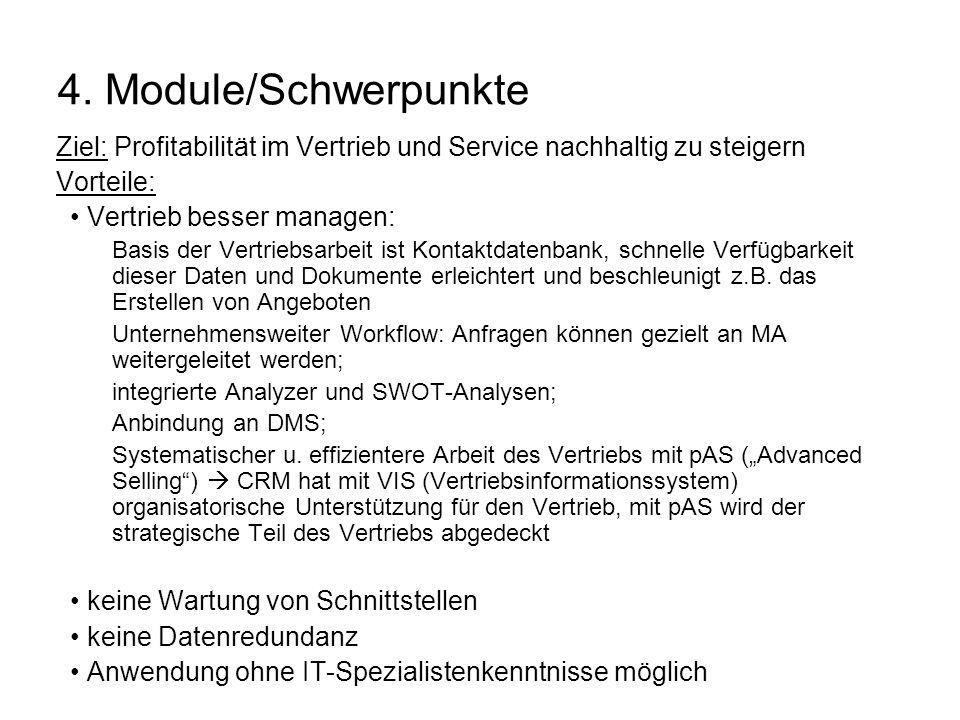 4. Module/Schwerpunkte Ziel: Profitabilität im Vertrieb und Service nachhaltig zu steigern Vorteile: Vertrieb besser managen: Basis der Vertriebsarbei