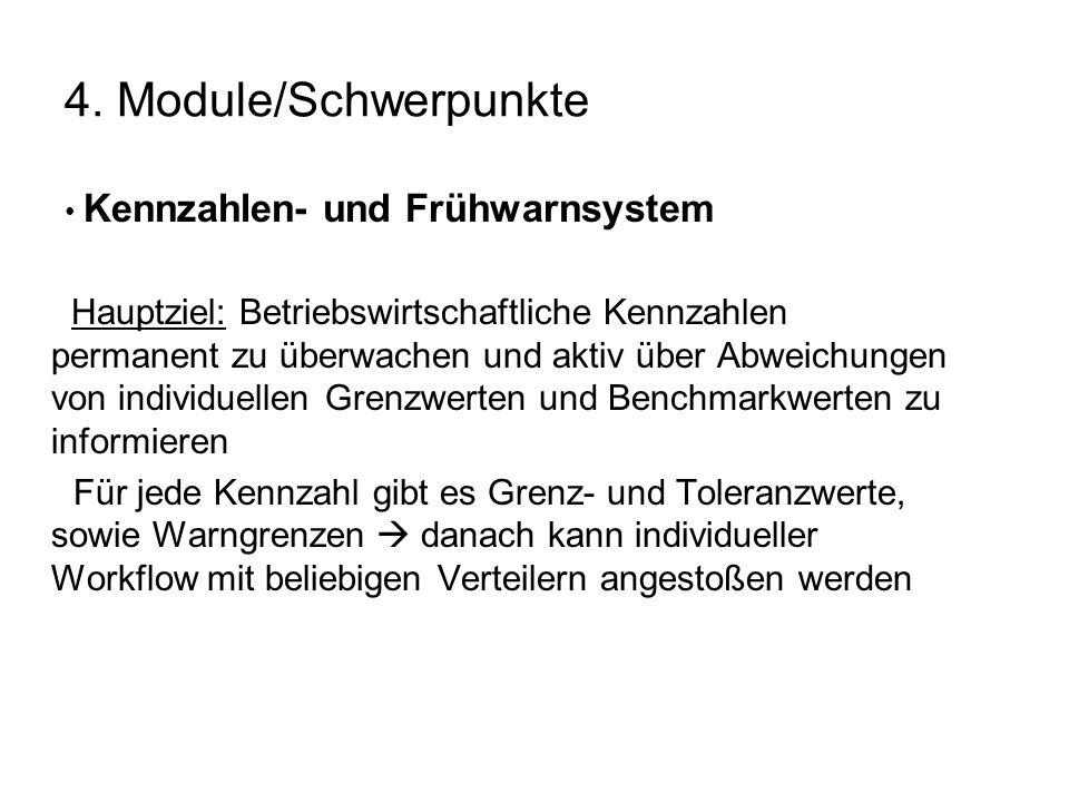 4. Module/Schwerpunkte Kennzahlen- und Frühwarnsystem Hauptziel: Betriebswirtschaftliche Kennzahlen permanent zu überwachen und aktiv über Abweichunge