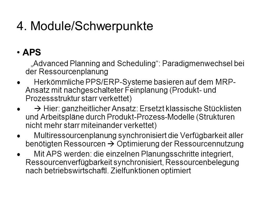 4. Module/Schwerpunkte APS Advanced Planning and Scheduling: Paradigmenwechsel bei der Ressourcenplanung Herkömmliche PPS/ERP-Systeme basieren auf dem