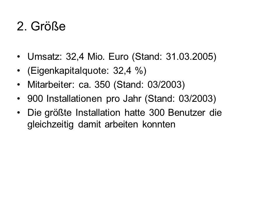 2. Größe Umsatz: 32,4 Mio. Euro (Stand: 31.03.2005) (Eigenkapitalquote: 32,4 %) Mitarbeiter: ca. 350 (Stand: 03/2003) 900 Installationen pro Jahr (Sta