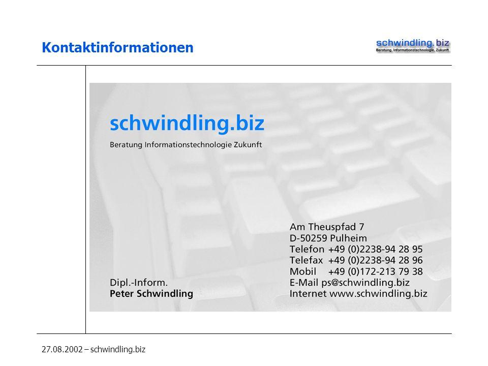 27.08.2002 – schwindling.biz Kontaktinformationen