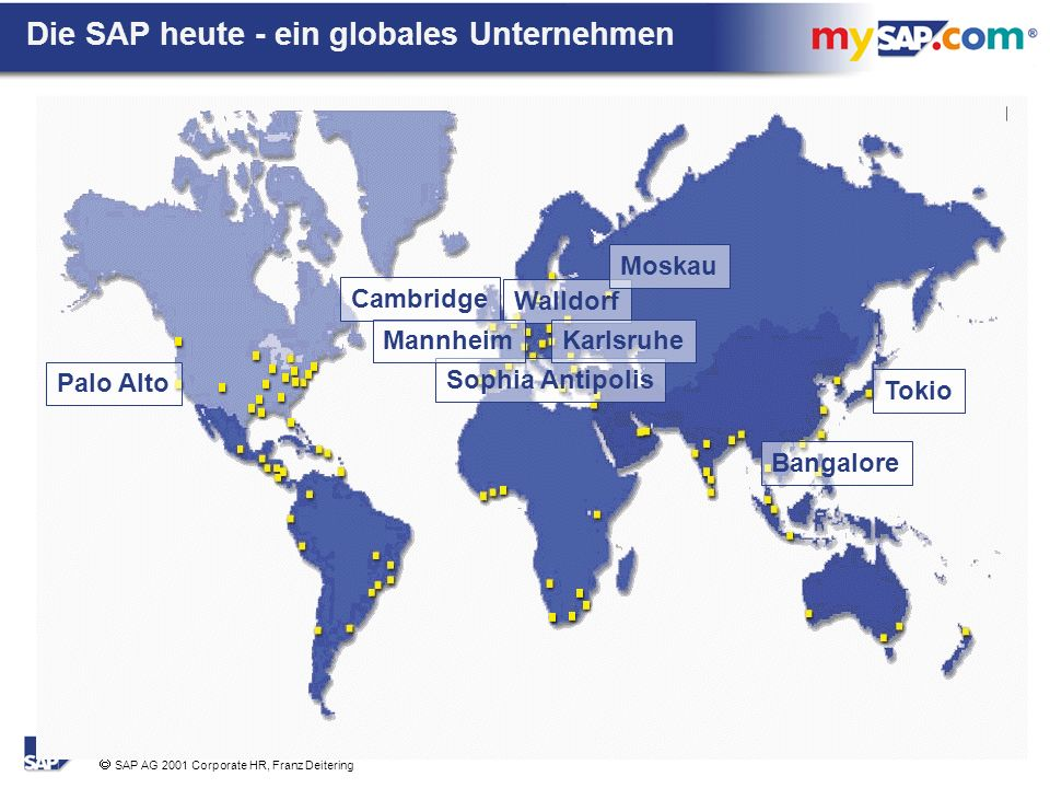 SAP AG 2001 Corporate HR, Franz Deitering Sophia Antipolis Walldorf Cambridge Palo Alto Moskau Bangalore Tokio MannheimKarlsruhe Die SAP heute - ein globales Unternehmen