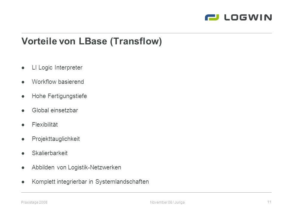 Praxistage 2008November 08 / Juriga11 Vorteile von LBase (Transflow) LI Logic Interpreter Workflow basierend Hohe Fertigungstiefe Global einsetzbar Fl
