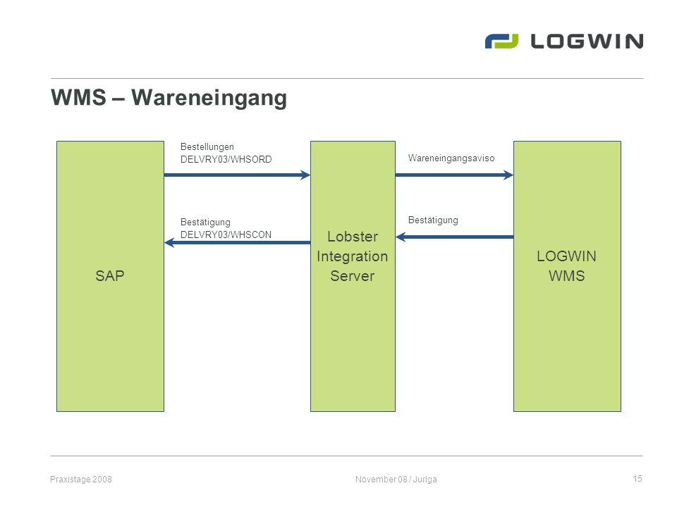 Praxistage 2008November 08 / Juriga15 WMS – Wareneingang SAP LOGWIN WMS Lobster Integration Server Bestellungen DELVRY03/WHSORD Wareneingangsaviso Bes