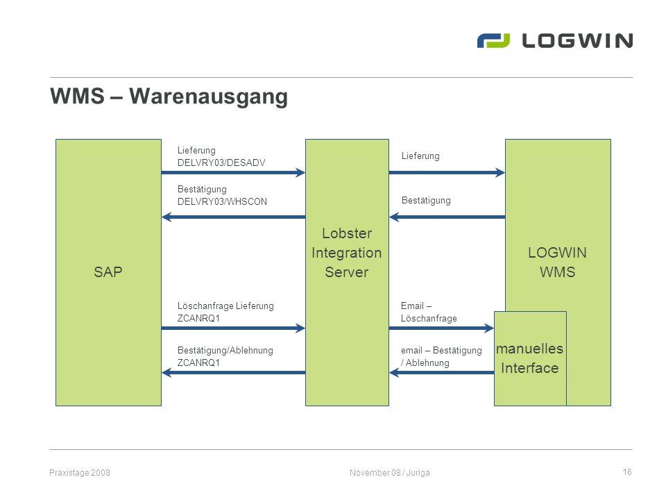 Praxistage 2008November 08 / Juriga16 WMS – Warenausgang SAP LOGWIN WMS Lobster Integration Server Lieferung DELVRY03/DESADV Lieferung Bestätigung DEL
