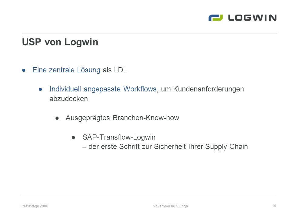 Praxistage 2008November 08 / Juriga19 USP von Logwin Eine zentrale Lösung als LDL Individuell angepasste Workflows, um Kundenanforderungen abzudecken
