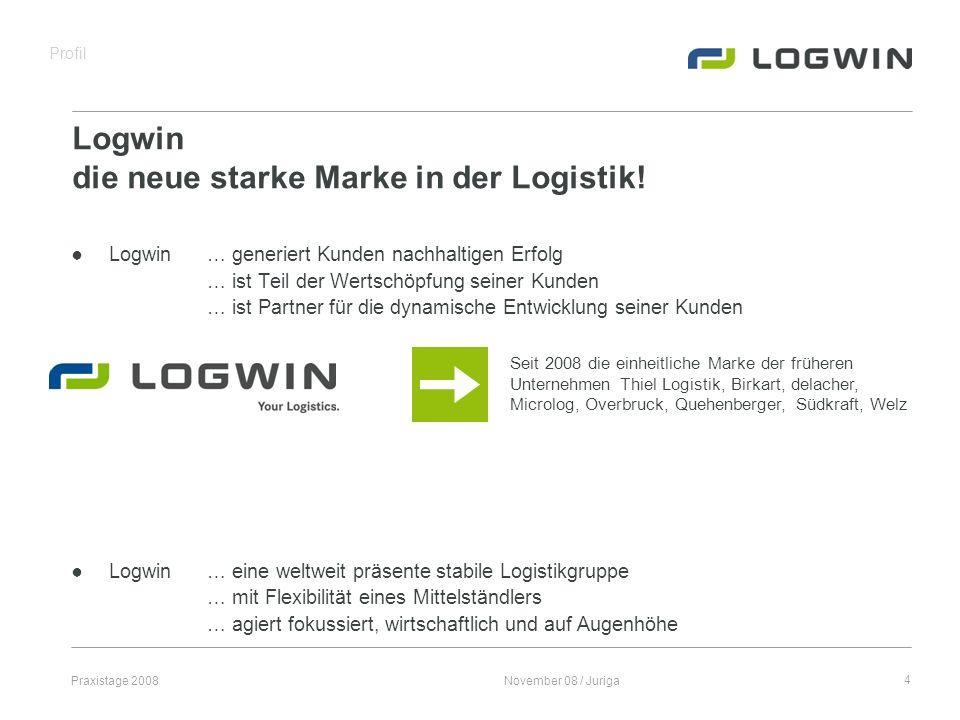 Praxistage 2008November 08 / Juriga5 Geschäftseinheiten Logwin branchenspezifische Serviceportfolios, die die gesamte Supply Chain einer Branche abdecken und steuern können.