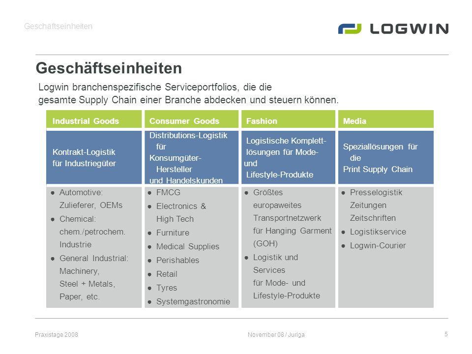Praxistage 2008November 08 / Juriga5 Geschäftseinheiten Logwin branchenspezifische Serviceportfolios, die die gesamte Supply Chain einer Branche abdec