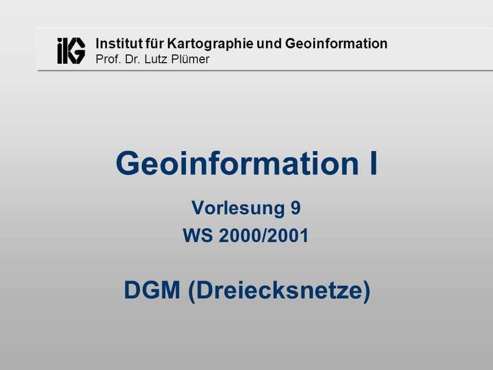 Institut für Kartographie und Geoinformation Prof. Dr. Lutz Plümer Geoinformation I Vorlesung 9 WS 2000/2001 DGM (Dreiecksnetze)