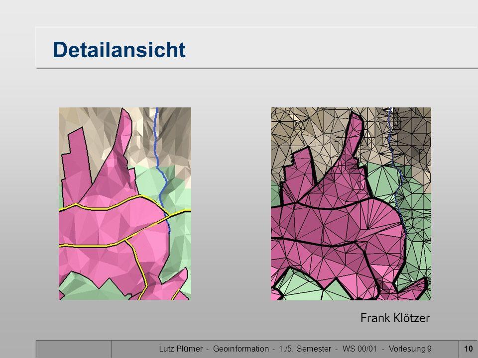 Lutz Plümer - Geoinformation - 1./5. Semester - WS 00/01 - Vorlesung 910 Detailansicht Frank Klötzer