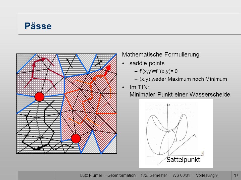 Lutz Plümer - Geoinformation - 1./5. Semester - WS 00/01 - Vorlesung 917 Pässe Mathematische Formulierung saddle points –f(x,y)=f(x,y)= 0 –(x,y) weder