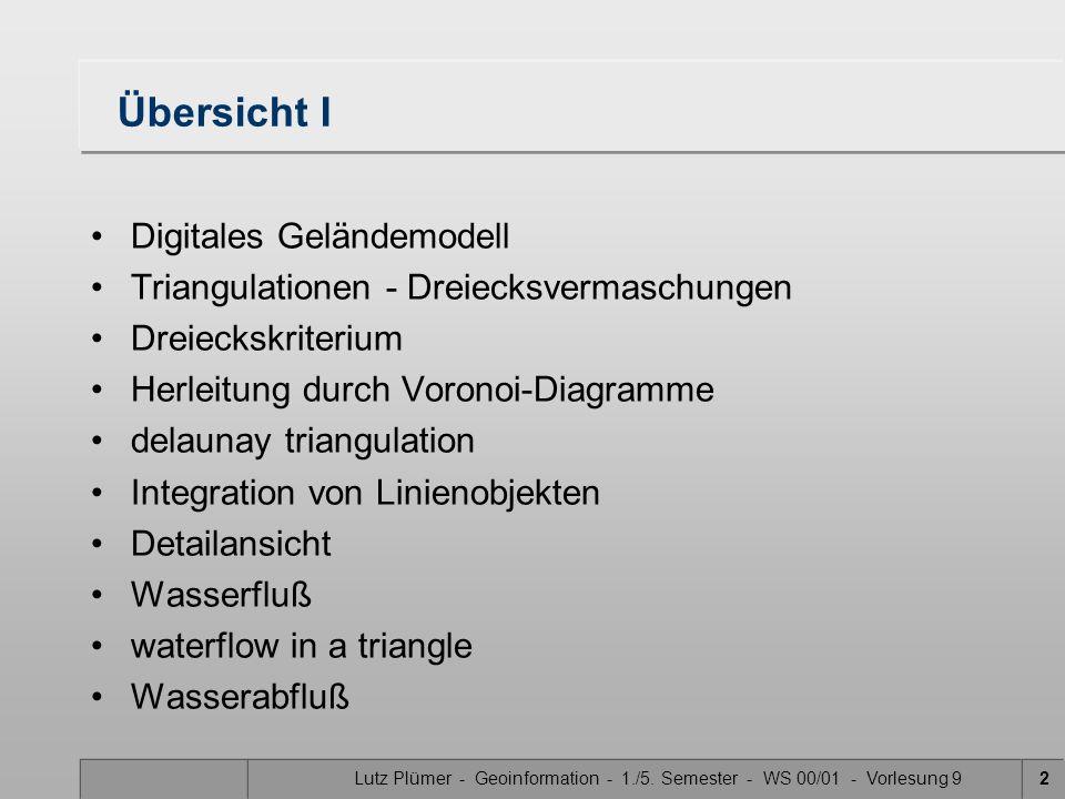 Lutz Plümer - Geoinformation - 1./5. Semester - WS 00/01 - Vorlesung 92 Übersicht I Digitales Geländemodell Triangulationen - Dreiecksvermaschungen Dr