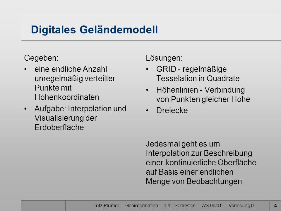Lutz Plümer - Geoinformation - 1./5. Semester - WS 00/01 - Vorlesung 94 Digitales Geländemodell Gegeben: eine endliche Anzahl unregelmäßig verteilter
