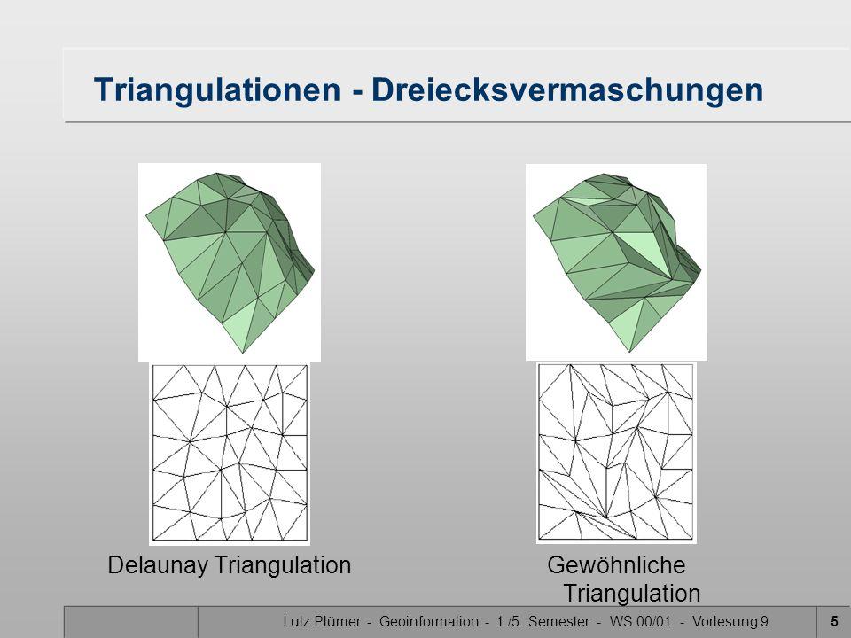 Lutz Plümer - Geoinformation - 1./5. Semester - WS 00/01 - Vorlesung 95 Triangulationen - Dreiecksvermaschungen Delaunay TriangulationGewöhnliche Tria