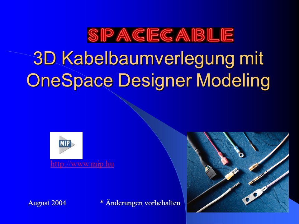 3D Kabelbaumverlegung mit OneSpace Designer Modeling http://www.mip.hu August 2004 * Änderungen vorbehalten
