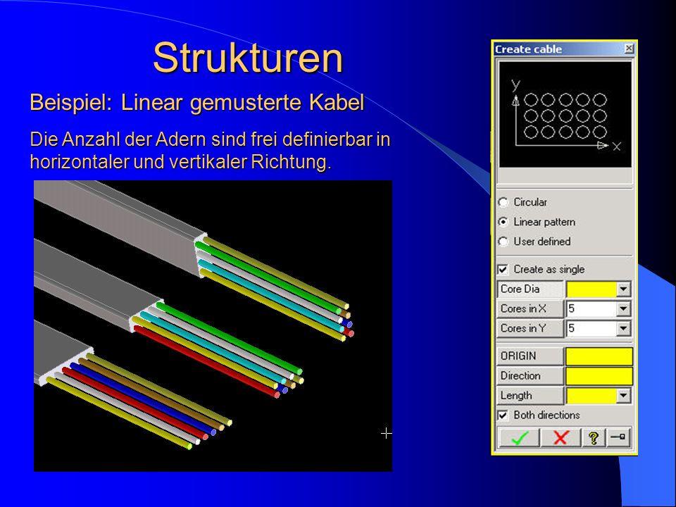 Strukturen Die Anzahl der Adern sind frei definierbar in horizontaler und vertikaler Richtung. Beispiel: Linear gemusterte Kabel