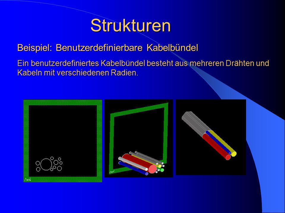 Strukturen Ein benutzerdefiniertes Kabelbündel besteht aus mehreren Drähten und Kabeln mit verschiedenen Radien. Beispiel: Benutzerdefinierbare Kabelb