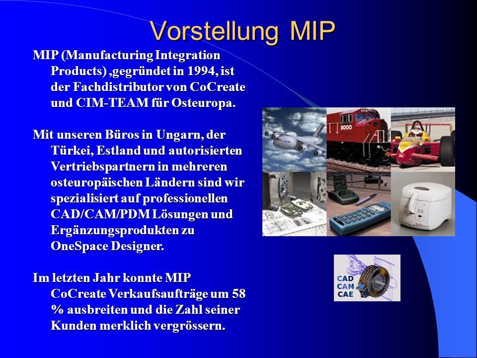MIP (Manufacturing Integration Products),gegründet in 1994, ist der Fachdistributor von CoCreate und CIM-TEAM für Osteuropa. Mit unseren Büros in Unga