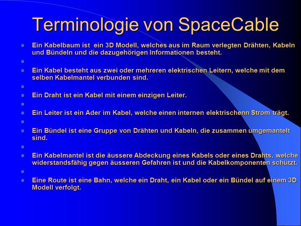 Terminologie von SpaceCable Ein Kabelbaum ist ein 3D Modell, welches aus im Raum verlegten Drähten, Kabeln und Bündeln und die dazugehörigen Informati